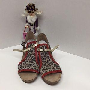 NAOT Fiona Wedge Sandal Cheetah Red Gold  Sz 7